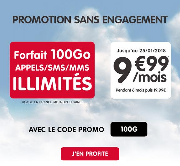 Le forfait sans engagement Woot 100 gigas est proposé à 9,99€/mois.