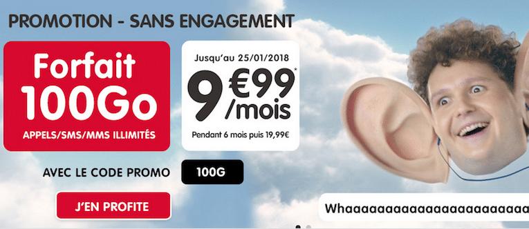 NRJ Mobile propose un forfait sans engagement 100 gigas.