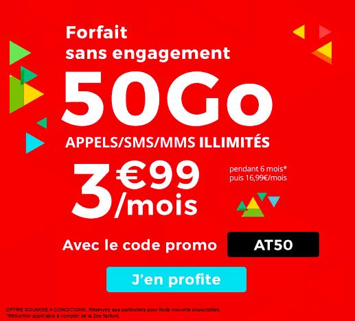 Auchan Télécom affiche son forfait 50 Go en promotion.
