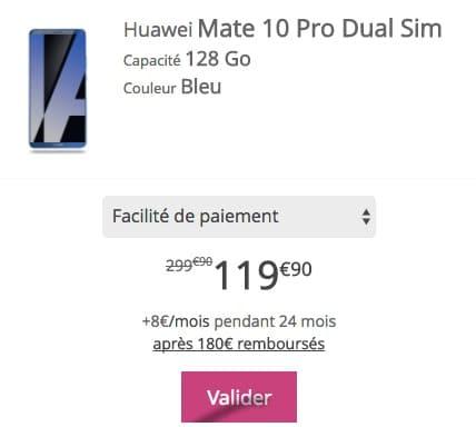 Bouygues Telecom propose une offre de remboursement pour le Huawei Mate 10 Pro moins cher.