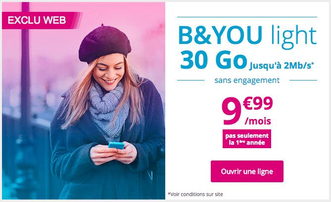 Le forfait B&You Light 30 Go est proposé à prix promo.
