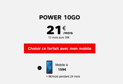 Le Power 10 Go de SFR avec un Samsung Galaxy A8 moins cher.