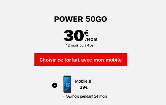 Le forfait Power 50 Go pour un Galaxy A8 au meilleur prix
