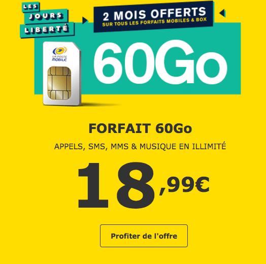 Forfait 60 Go La Poste Mobile avec 2 mois offerts