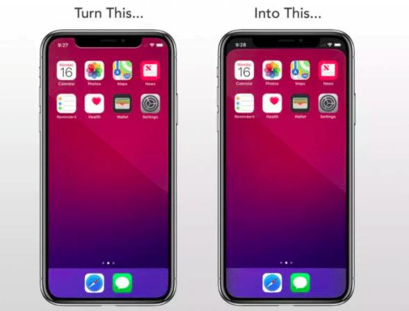 L'application Notch Remover permet de faire disparaitre l'encoche de l'iPhone X.