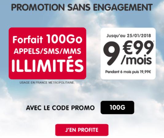 NRJ Mobile propose une promotion sur le forfait 100 Go.