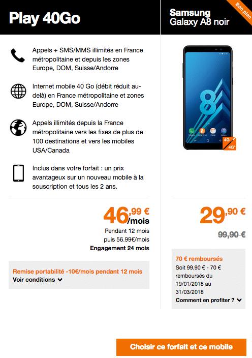 Les offres d'Orange pour le Galaxy A8.