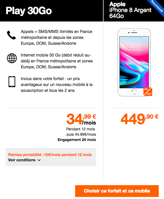 Les promos Orange pour l'iPhone 8.