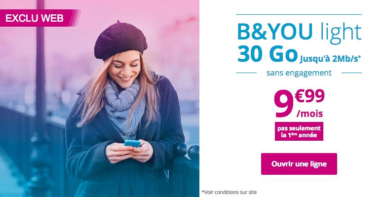 Forfait mobile 30 Go de B&YOU