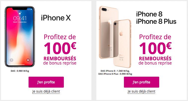 L'iPhone X, l'iPhone 8 et l'iPhone 8 Plus avec un bonus reprise de Bouygues Télécom
