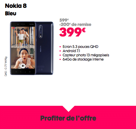Chez Sosh, le Nokia 8 est en promotion.