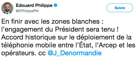 Edouard Philippe à propos de l'accord sur les zones blanches