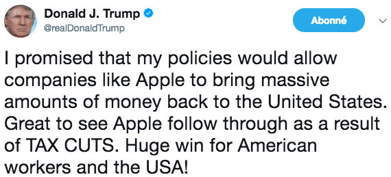 Donald Trump commente les investissements d'Apple aux USA.