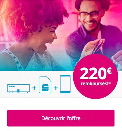 L'offre de remboursement de 220€ de Bouygues Télécom.