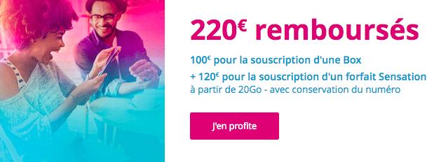 Un forfait Sensation de Bouygues Télécom avec 120€ remboursés.