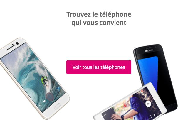 Accès à la liste des mobiles Bouygues Télécom.