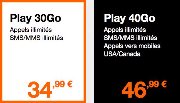 Les forfaits Play Orange.