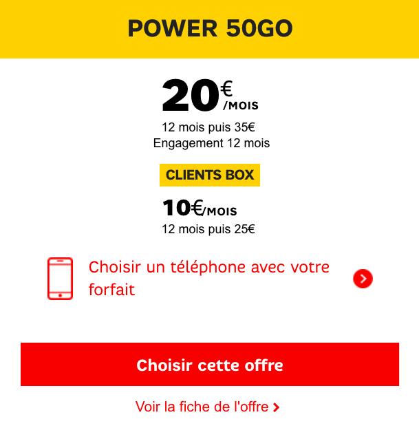 Forfait SFR 50 Go