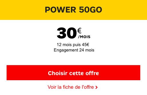 Forfait SFR Power 50 Go