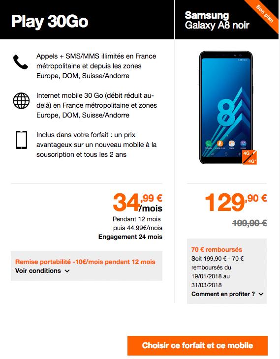 Le Samsung galaxy A8 et le forfait Play 30 Go d'Orange.