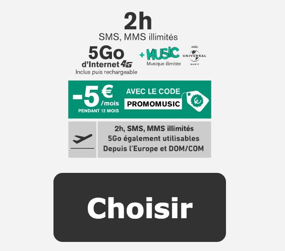 2h et 5 Go pour 4,99€ par mois avec La Poste Mobile.
