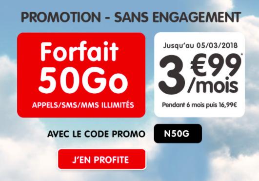 Promotion sans engagement 50 G pour 3,99€ par mois.