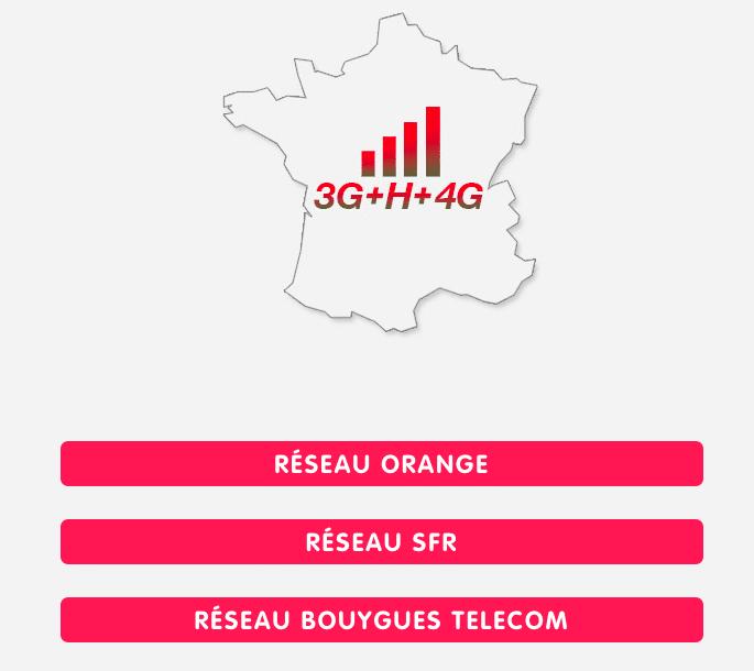 Les réseaux employés par NRJ Mobile.