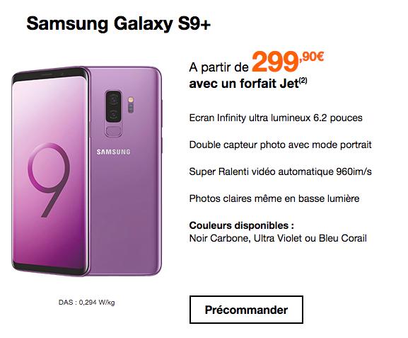 Précommander le Samsung Galaxy S9+ avec Orange