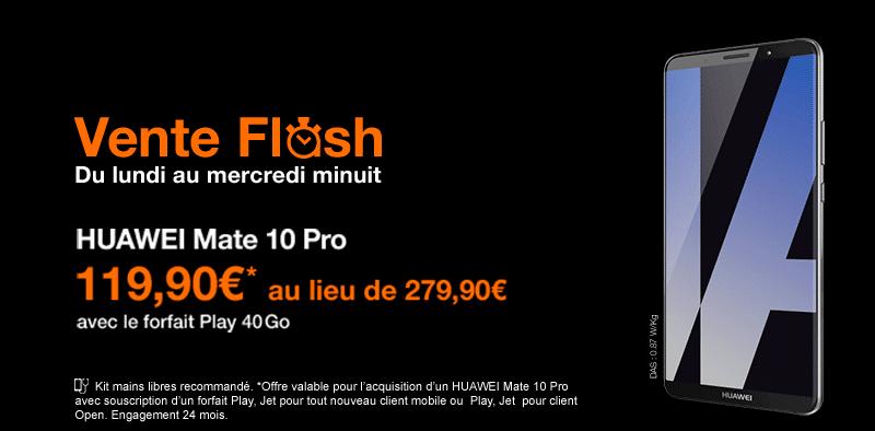 huawei mate 10 pro en vente flash chez orange 160 de remise imm diate. Black Bedroom Furniture Sets. Home Design Ideas