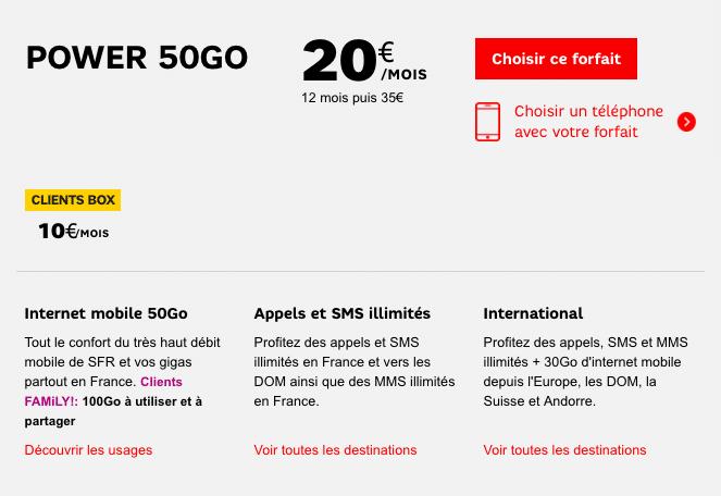 Le forfait Power 50 Go et ses services.
