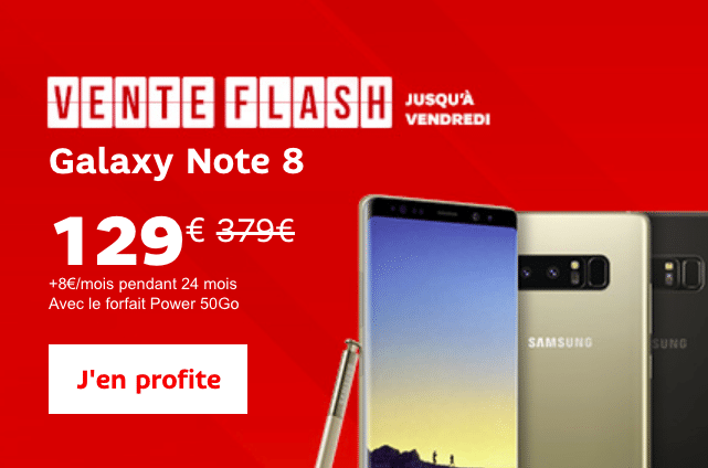 La dernière vente flash de SFR avec le Samsung Galxy Note8