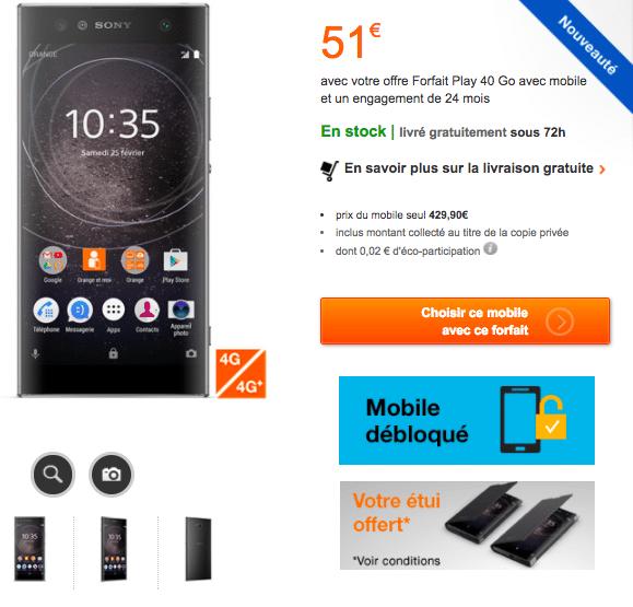 Le forfait Play 40 avec le dernier mobile Sony.