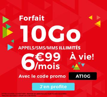 L'offre d'Auchan Télécom à vie pour 6,99€ et 10 Go de données mobiles.