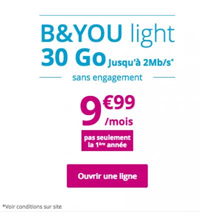 B&You light, le forfait de Bouygues Télécom.