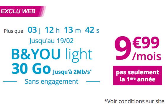 Forfait sans engagement de Bouygues Télécom B&You light 30 Go.