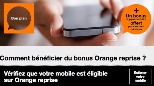 Le bonus reprise de portable proposé par Orange.