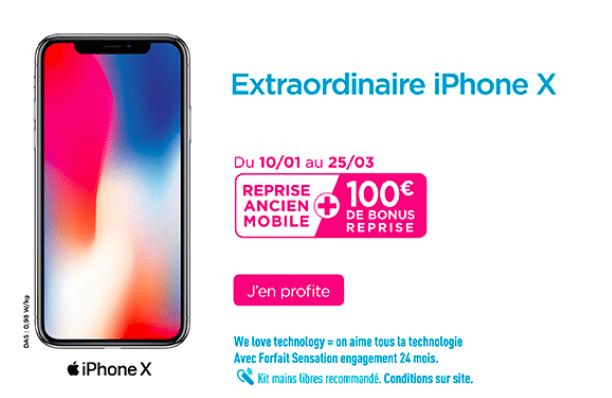 Bouygues Telecom vous offre 100 euros de remise sur votre iPhone X.
