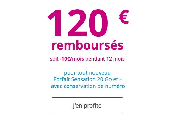 120 euros de remises sur un forfait Sensation de Bouygues Télécom.