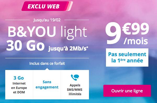Bouygues Telecom affiche le forfait Light 30 Go en promotion valable à vie.