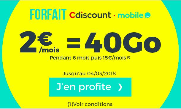 Cdiscount affiche une promotion sur son forfait 40 Go.