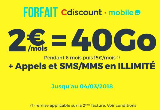 2€ pour un si chouette forfait chez Cdiscount Mobile.