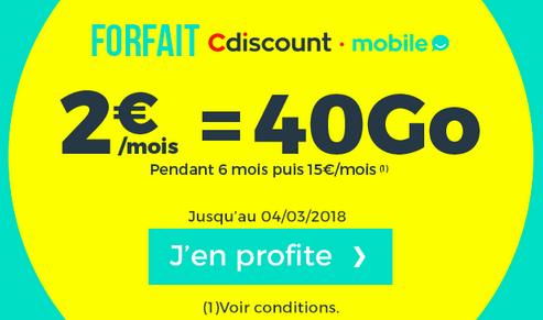 Le forfait Cdiscount Mobile à 2€ pour 40 Go de données, c'est donné !