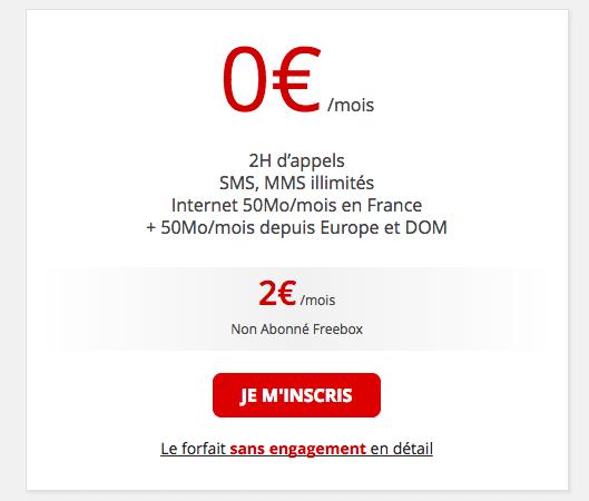 Le forfait mobile de Free Mobile à 2€ par mois.