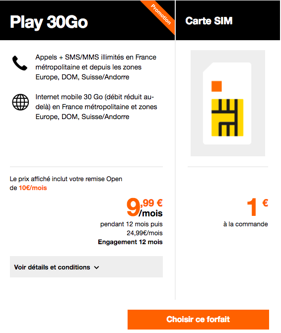 forfait mobile orange