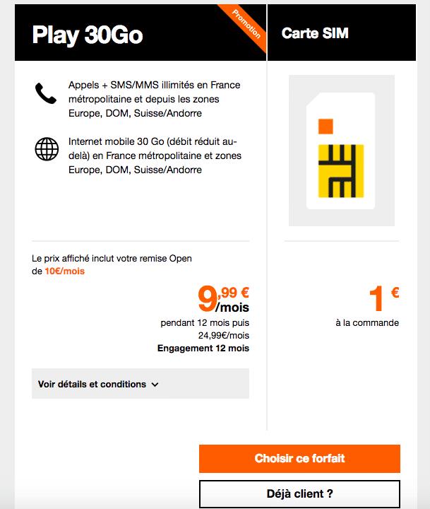 Les forfaits Play 30 Go sont en promotion chez Orange.