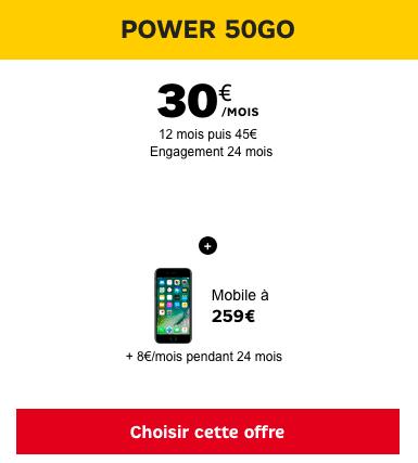 Le forfait Power 50 Go de SFR permet l'achat d'un iPhone 7 à bas prix.