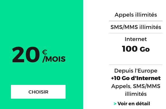 Le forfait RED by SFR 100 Go.