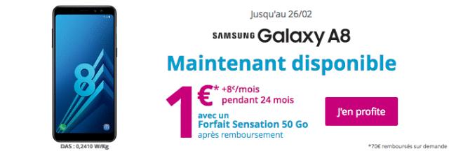 Le forfait avec engagement de Bouygues pour un Galaxy A8 à 1€.
