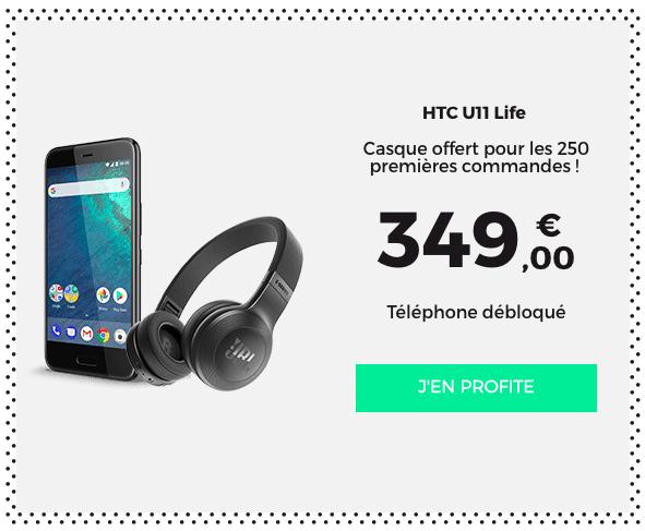 Un casque JBL sans fil est offert pour tout achat d'un HTC U11 life chez RED by SFR.