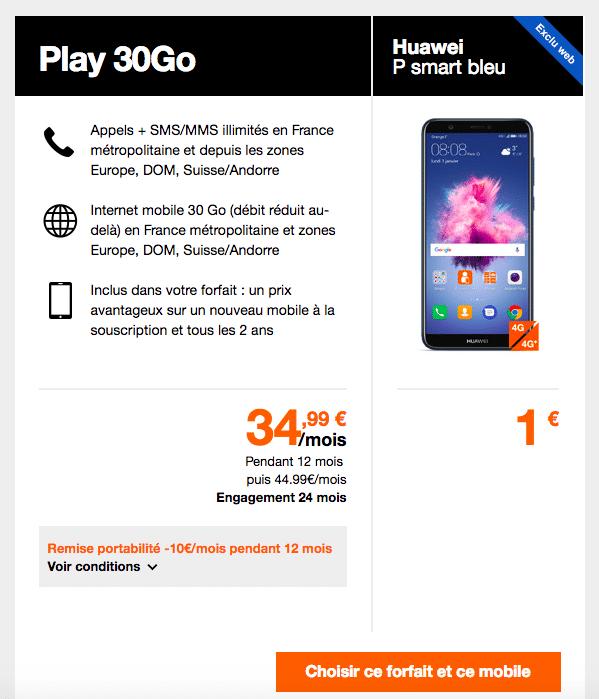 Le Huawei P Smart est proposé à partir de 1 euro chez Orange.